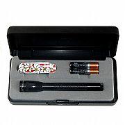 Lanterna Mini Maglite Preta Luxo M3A65L com Canivete de Brinde